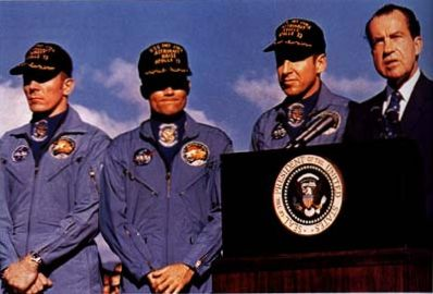 Swigert, Haise, & Lovell (L to R) at Medal of Freedom award w/President Nixon.