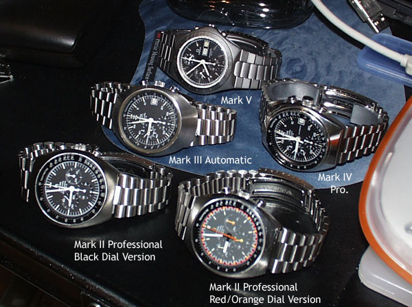 6 examples of Mark Series Omega Speedmasters...