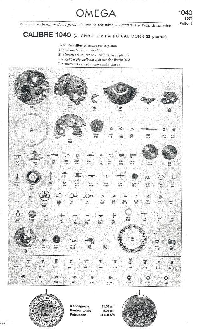 Omega C 1040 Chronograph Service Manual In German
