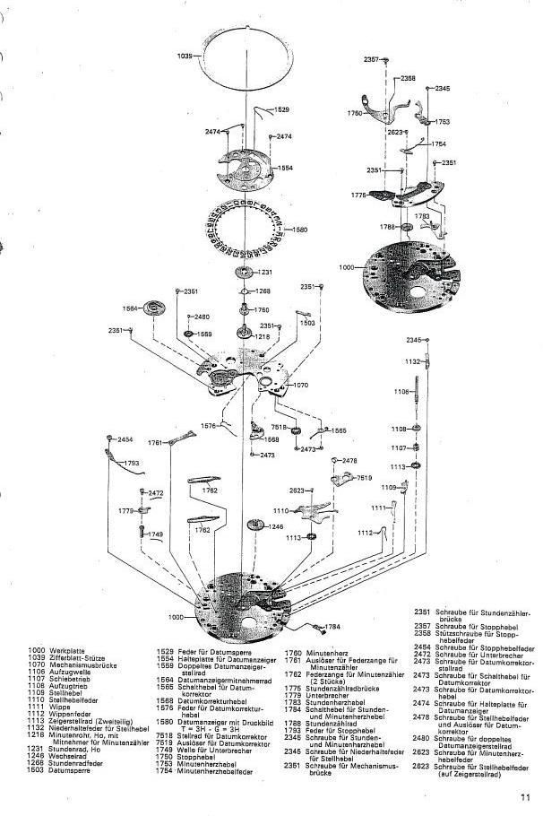 Omega c1040 Chronograph Service Manual in German
