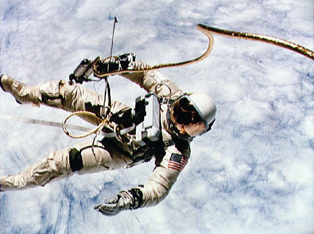 Ed White during Gemini 4 Space Walk...